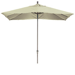 11 Foot Sunbrella 1A Fabric Rectangular Canopy Aluminum Crank Lift Patio Umbrella with Bronze Pole
