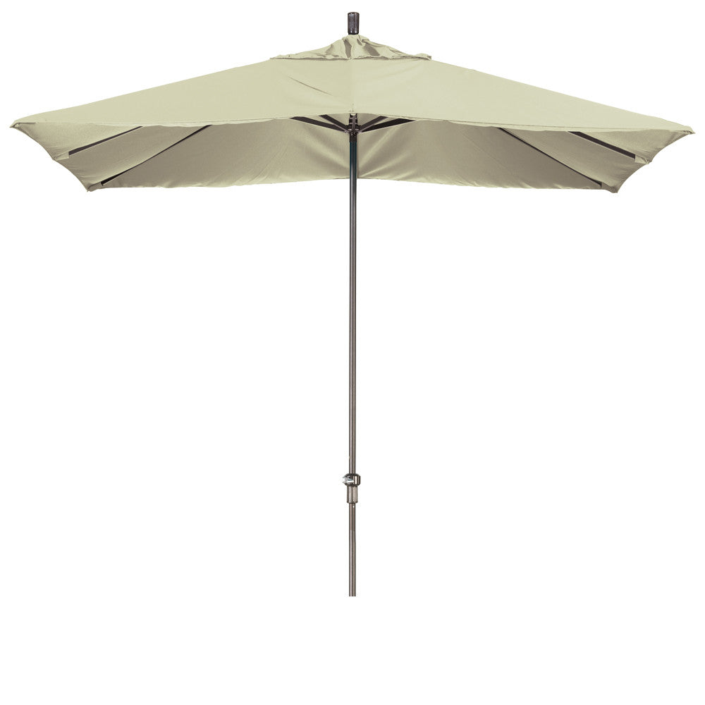 11 Foot Sunbrella 5A Fabric Rectangular Canopy Aluminum Crank Lift Patio Umbrella with Bronze Pole