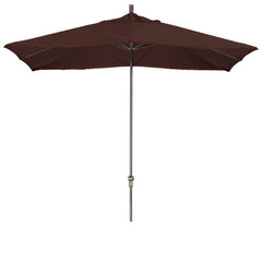 11 Foot Sunbrella 3A Fabric Rectangular Canopy Aluminum Crank Lift Patio Umbrella with Bronze Pole