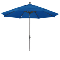 11 Foot Sunbrella 1A Fabric Aluminum Crank Lift Collar Tilt Patio Umbrella with Bronze Pole