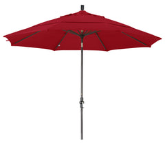 11 Foot Sunbrella 5A Fabric Aluminum Crank Lift Collar Tilt Patio Umbrella with Bronze Pole