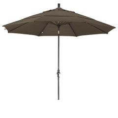 11 Foot Sunbrella 3A Fabric Aluminum Crank Lift Collar Tilt Patio Umbrella with Bronze Pole