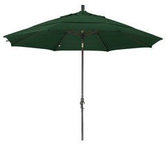 11 Foot Sunbrella 2A Fabric Aluminum Crank Lift Collar Tilt Patio Umbrella with Bronze Pole