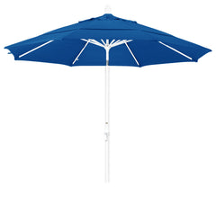 11 Foot Sunbrella 2A Fabric Aluminum Crank Lift Collar Tilt Patio Umbrella with White Pole