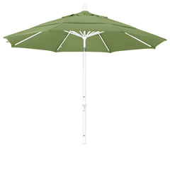 11 Foot Sunbrella 3A Fabric Aluminum Crank Lift Collar Tilt Patio Umbrella with White Pole