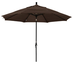 11 Foot Sunbrella 3A Fabric Aluminum Crank Lift Collar Tilt Patio Umbrella with Black Pole
