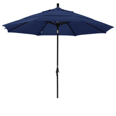 11 Foot Sunbrella 2A Fabric Aluminum Crank Lift Collar Tilt Patio Umbrella with Black Pole