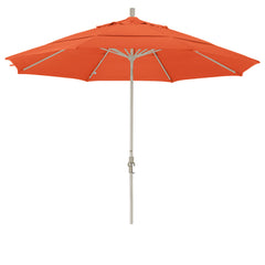 11 Foot Sunbrella 2A Fabric Aluminum Crank Lift Collar Tilt Patio Umbrella with Sand Pole