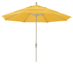 11 Foot Sunbrella 1A Fabric Aluminum Crank Lift Collar Tilt Patio Umbrella with Sand Pole