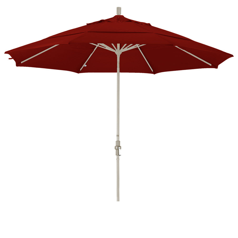 11 Foot Sunbrella 5A Fabric Aluminum Crank Lift Collar Tilt Patio Umbrella with Sand Pole