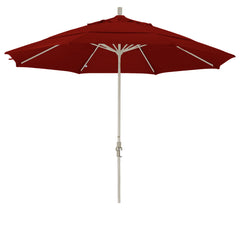 11 Foot Sunbrella 3A Fabric Aluminum Crank Lift Collar Tilt Patio Umbrella with Sand Pole