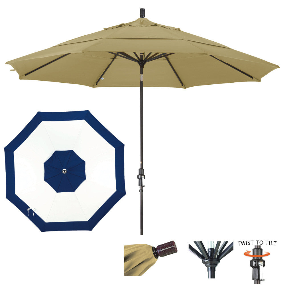 11 Foot Sunbrella Fabric Aluminum Crank Lift Collar Tilt Patio Umbrella, Edge Design