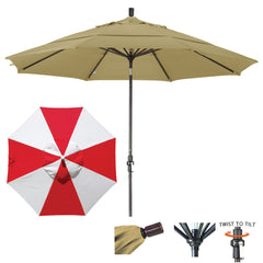 11 Foot Sunbrella Fabric Aluminum Crank Lift Collar Tilt Patio Umbrella, Alternating Panel