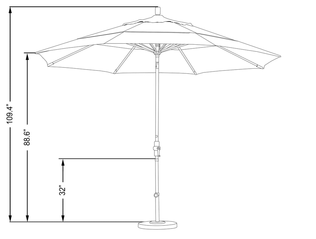 11 Foot Sunbrella 5A Fabric Aluminum Crank Lift Collar Tilt Patio Umbrella with White Pole