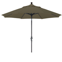 9 Foot Sunbrella 3A Fabric Aluminum Crank Lift Collar Tilt Patio Umbrella with Black Pole