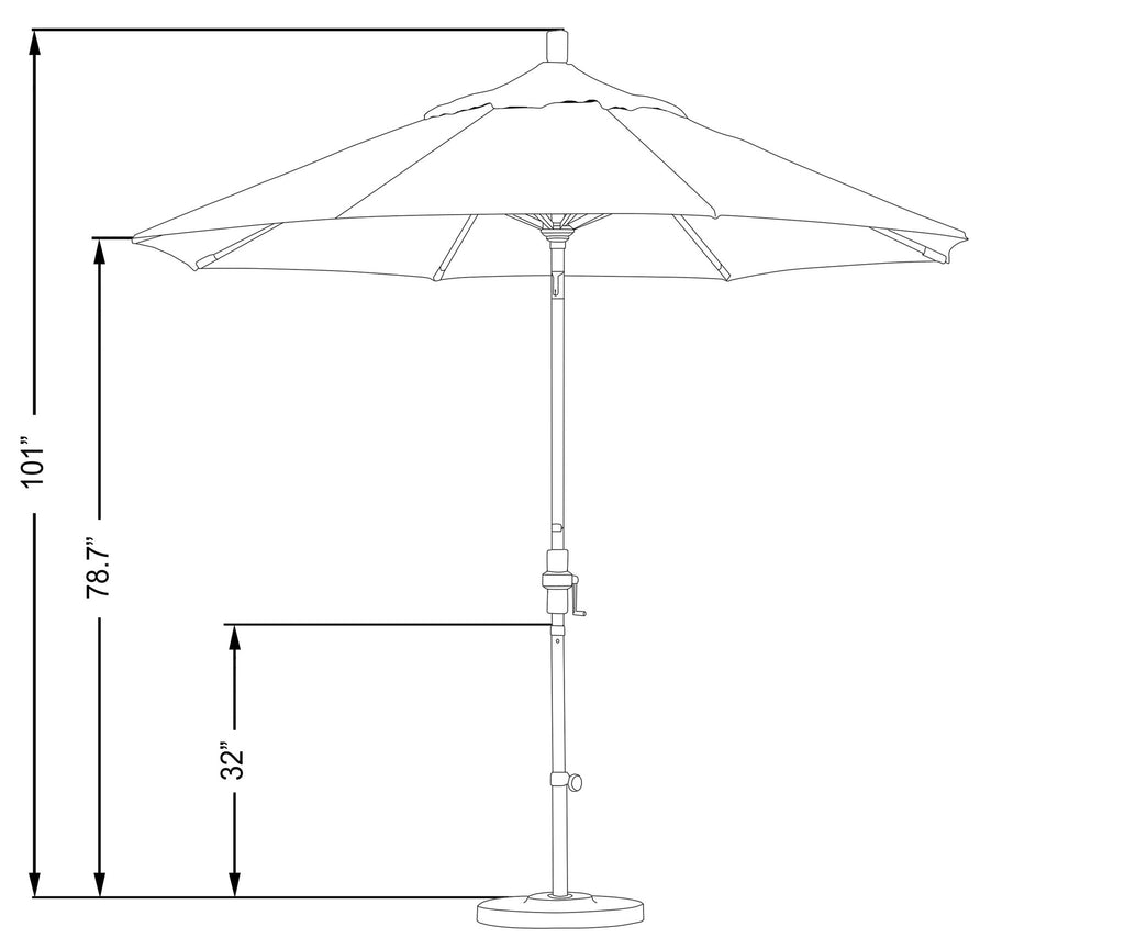 9 Foot Sunbrella 3A Fabric Aluminum Crank Lift Collar Tilt Patio Umbrella with Bronze Pole