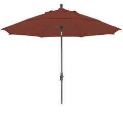 11 Foot Sunbrella 1A Fabric Fiberglass Rib Crank Lift Collar Tilt Aluminum Patio Umbrella with Bronze Pole, 78 Colors