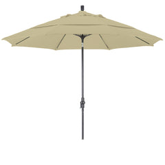 11 Foot Sunbrella 2A Fabric Fiberglass Rib Crank Lift Collar Tilt Aluminum Patio Umbrella with Bronze Pole, 55 Colors