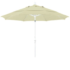 11 Foot Sunbrella 1A Fabric Fiberglass Rib Crank Lift Collar Tilt Aluminum Patio Umbrella with White Pole