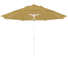 11 Foot Sunbrella 2A Fabric Fiberglass Rib Crank Lift Collar Tilt Aluminum Patio Umbrella with White Pole