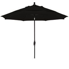 11 Foot Sunbrella 2A Fabric Fiberglass Rib Crank Lift Collar Tilt Aluminum Patio Umbrella with Black Pole
