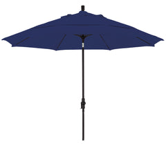 11 Foot Sunbrella 1A Fabric Fiberglass Rib Crank Lift Collar Tilt Aluminum Patio Umbrella with Black Pole