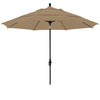 11 Foot Sunbrella 4A Fabric Fiberglass Rib Crank Lift Collar Tilt Aluminum Patio Umbrella with Black Pole
