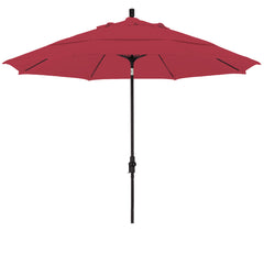 11 Foot Sunbrella 3A Fabric Fiberglass Rib Crank Lift Collar Tilt Aluminum Patio Umbrella with Black Pole