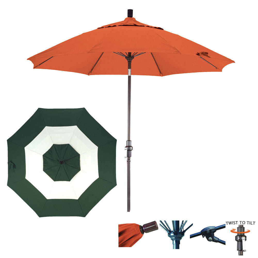 11 Foot Sunbrella Fabric Fiberglass Rib Crank Lift Collar Tilt Aluminum Patio Umbrella, Middle Accent