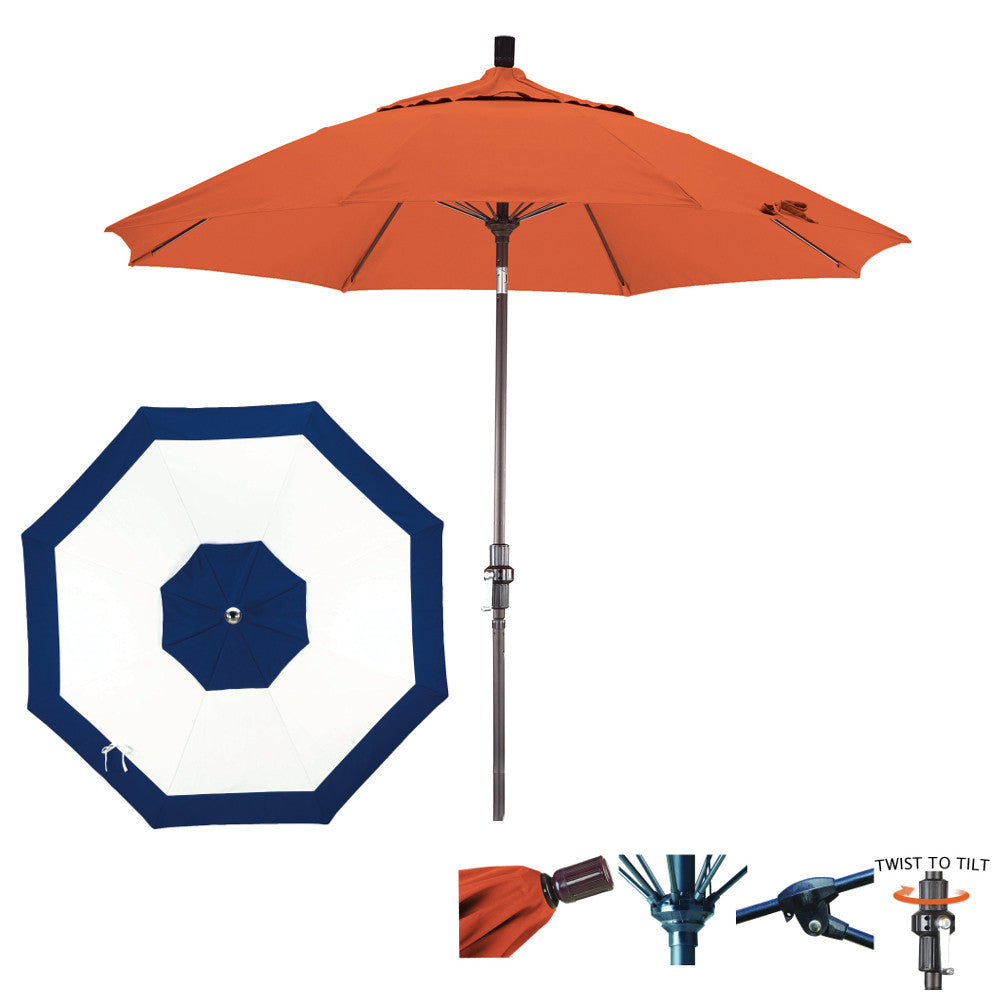 11 Foot Sunbrella Fabric Fiberglass Rib Crank Lift Collar Tilt Aluminum Patio Umbrella, Edge Design