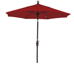 7 1/2 Foot Sunbrella 4A Fabric Fiberglass Rib Crank Lift Collar Tilt Aluminum Patio Umbrella with Bronze Pole