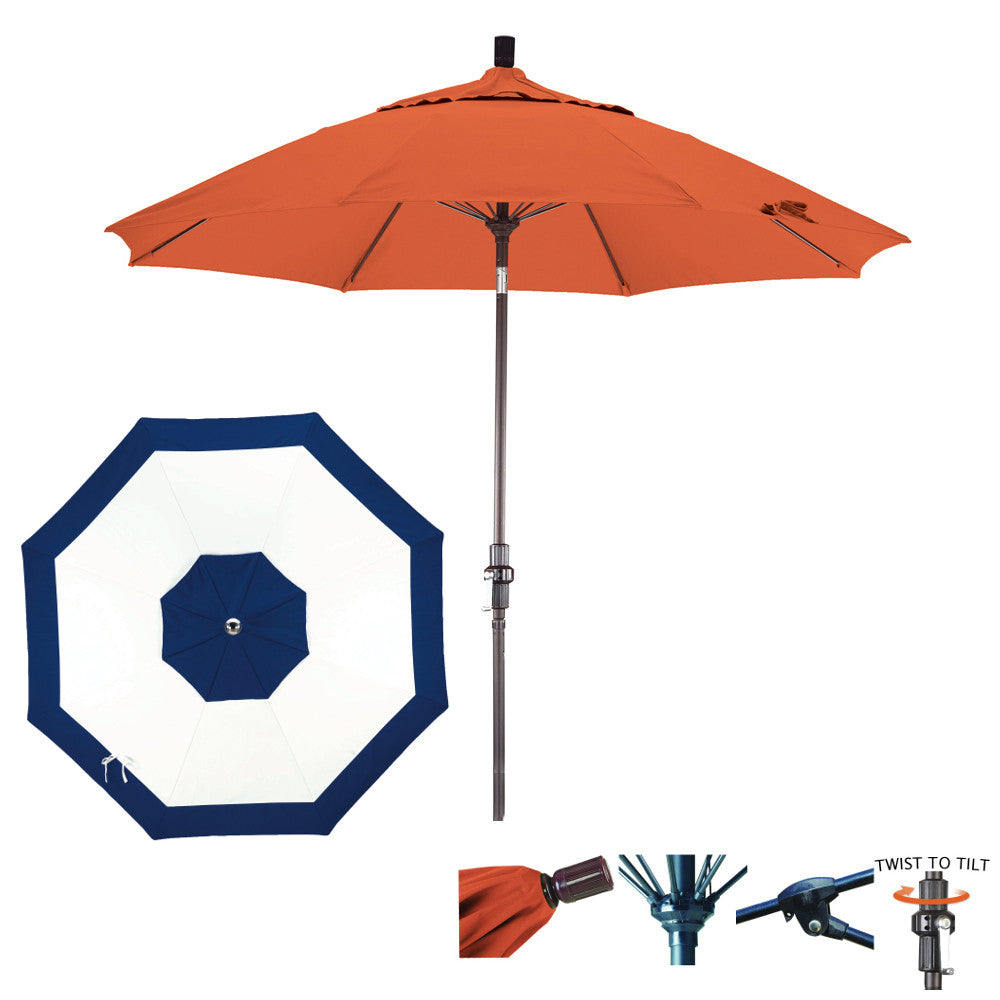 7 1/2 Foot Sunbrella Fabric Fiberglass Rib Crank Lift Collar Tilt Aluminum Patio Umbrella, Edge Design