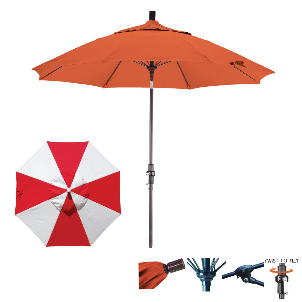 9 Foot Sunbrella Fabric Fiberglass Rib Crank Lift Collar Tilt Aluminum Patio Umbrella, Alternating Panels