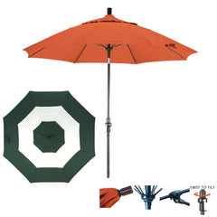 9 Foot Sunbrella Fabric Fiberglass Rib Crank Lift Collar Tilt Aluminum Patio Umbrella, Middle Accent