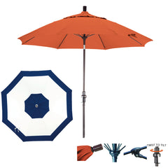 9 Foot Sunbrella Fabric Fiberglass Rib Crank Lift Collar Tilt Aluminum Patio Umbrella, Edge Design