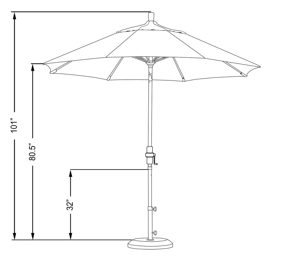 9 Foot Sunbrella 4A Fabric Fiberglass Rib Crank Lift Collar Tilt Aluminum Patio Umbrella with White Pole