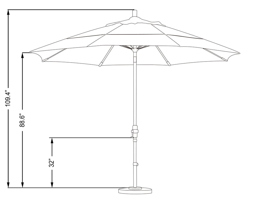 11 Foot Sunbrella 3A Fabric Fiberglass Rib Crank Lift Collar Tilt Aluminum Patio Umbrella with White Pole