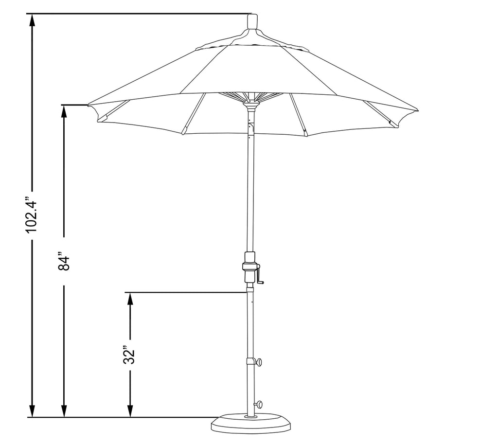 7 1/2 Foot Sunbrella 3A Fabric Fiberglass Rib Crank Lift Collar Tilt Aluminum Patio Umbrella with Bronze Pole