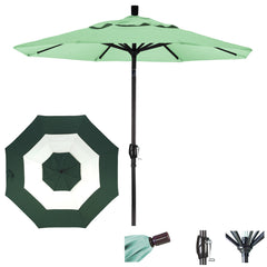 7 1/2 Foot Sunbrella Fabric Aluminum Crank Lift Push Tilt Patio Umbrella, Middle Accent
