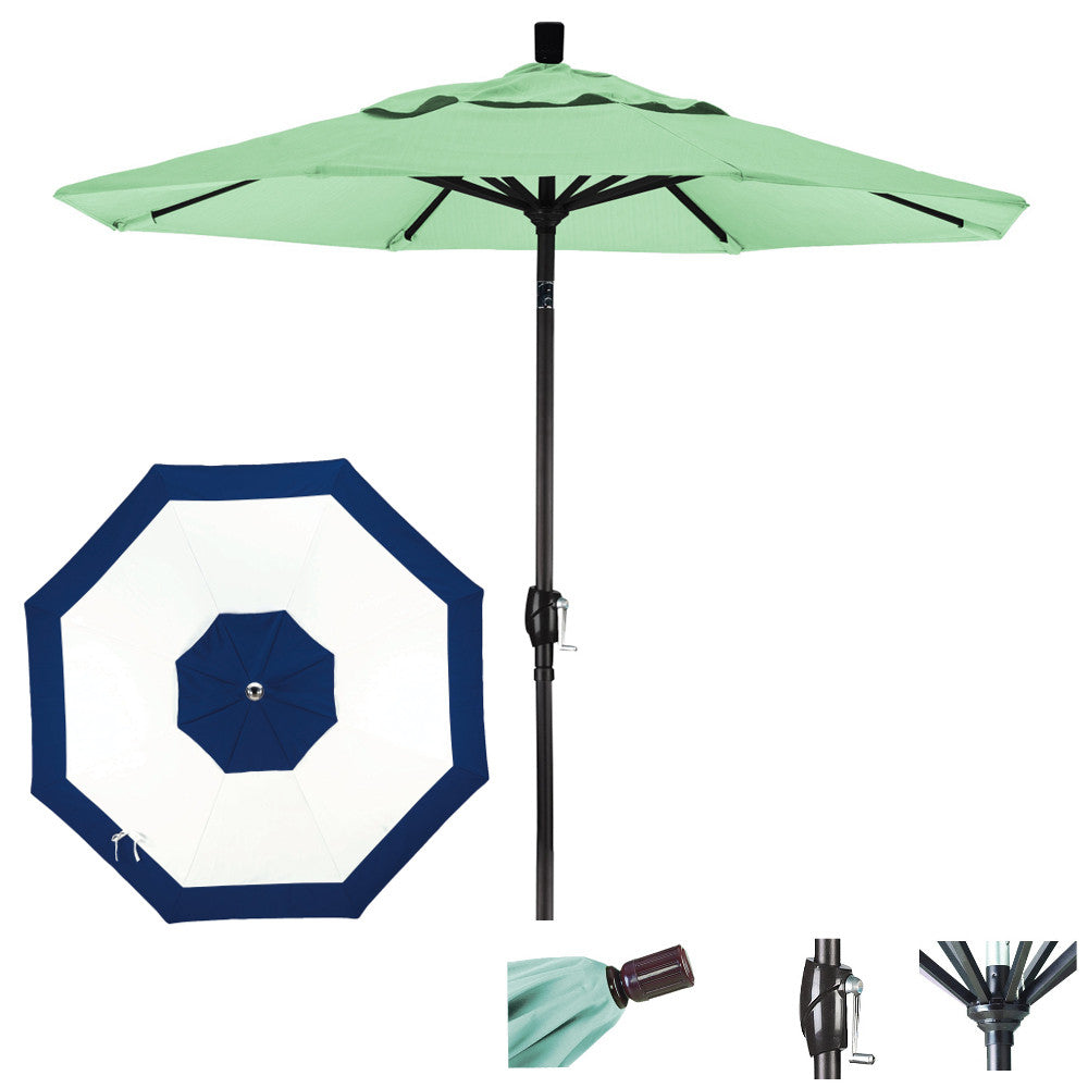 7 1/2 Foot Sunbrella Fabric Aluminum Crank Lift Push Tilt Patio Umbrella, Edge Design
