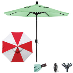 7 1/2 Foot Sunbrella Fabric Aluminum Crank Lift Push Tilt Patio Umbrella, Alternating Panel