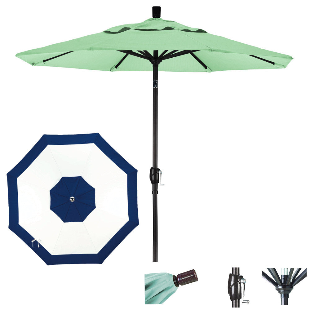9 Foot Sunbrella Fabric Aluminum Crank Lift Push Tilt Patio Umbrella, Edge Design