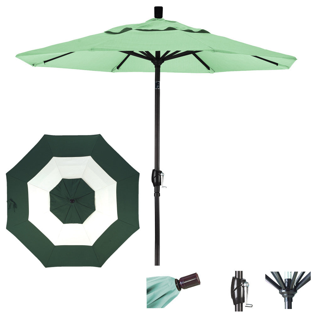 9 Foot Sunbrella Fabric Aluminum Crank Lift Push Tilt Patio Umbrella, Middle Accent