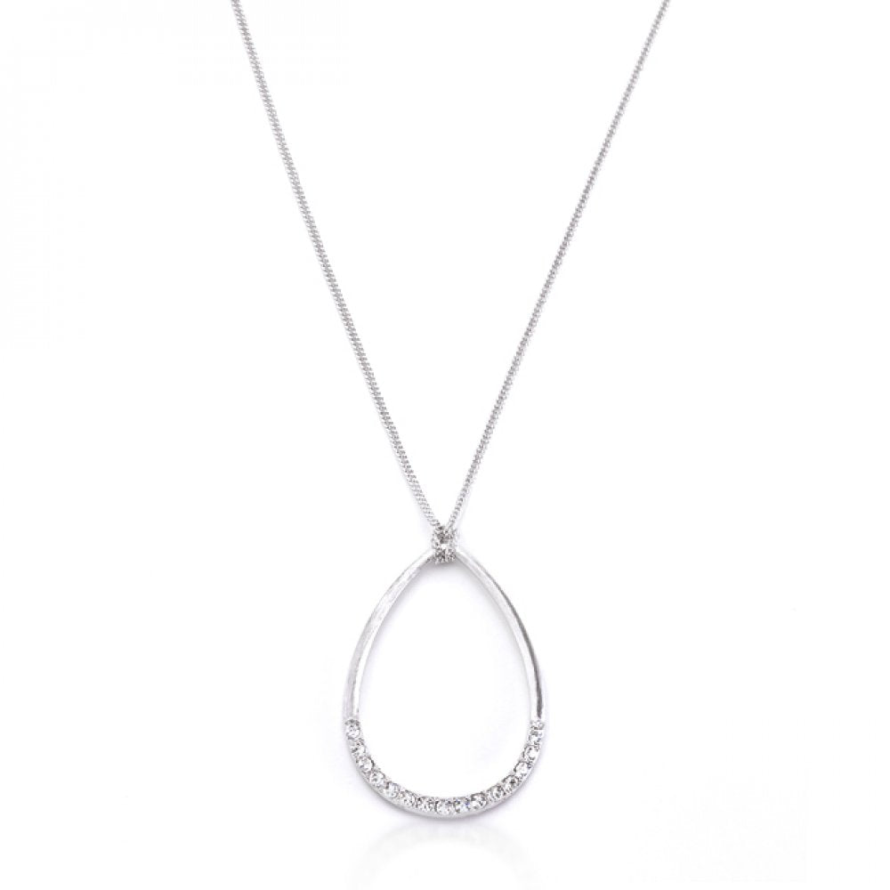 Silver Tone Crystal Teardrop Necklace
