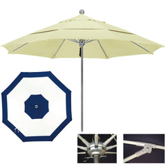 "11 Foot Stainless Steel Single Piece Pole Patio Umbrella With 1/2"" Thick Fiberglass Ribs, Edge Design"