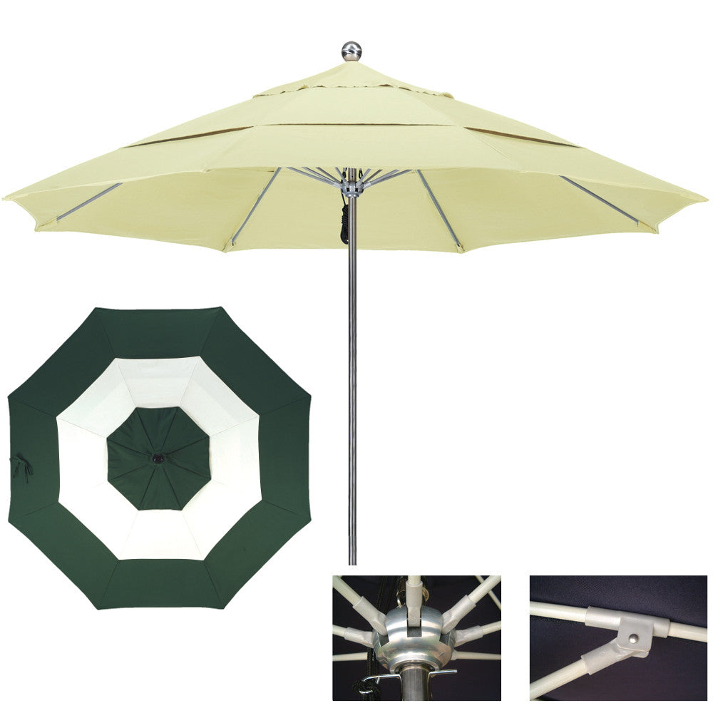"11 Foot Stainless Steel Single Piece Pole Patio Umbrella With 1/2"" Thick Fiberglass Ribs, Middle Accent"