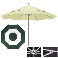 "9 Foot Stainless Steel Single Piece Pole Patio Umbrella With 1/2"" Thick Fiberglass Ribs, Middle Accent"