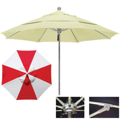 "9 Foot Stainless Steel Single Piece Pole Patio Umbrella With 1/2"" Thick Fiberglass Ribs, Alternating Panels"