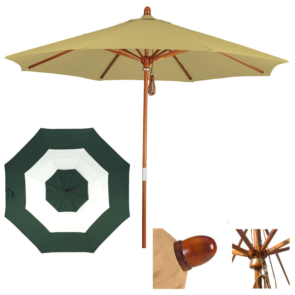 7 1/2 Foot Sunbrella Fabric Marenti wood Patio umbrella with pulley, Middle Accent
