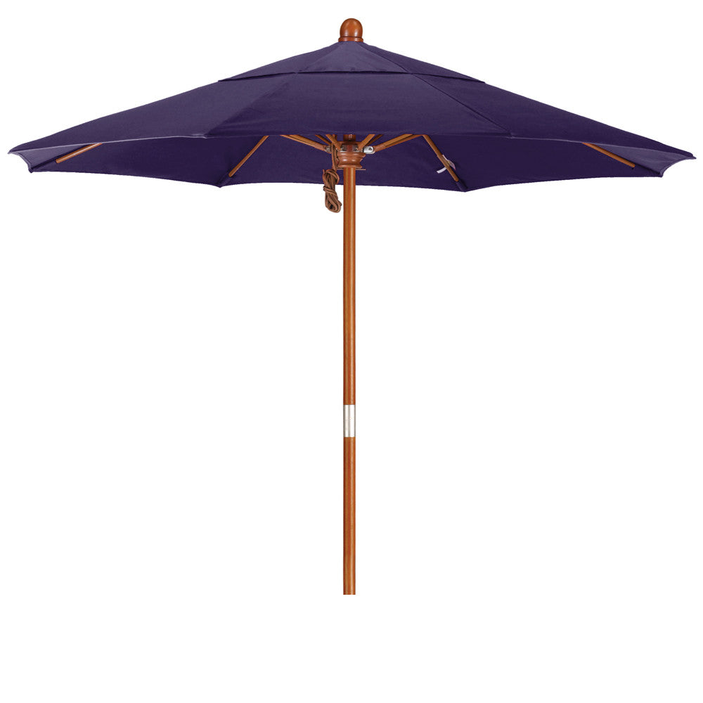 7 5 Foot Pacifica Fabric Marenti Wood Market Umbrella With Pulley